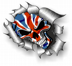 Ripped Torn Metal Design With Skull & Union Jack British Flag External Vinyl Car Sticker 105x130mm
